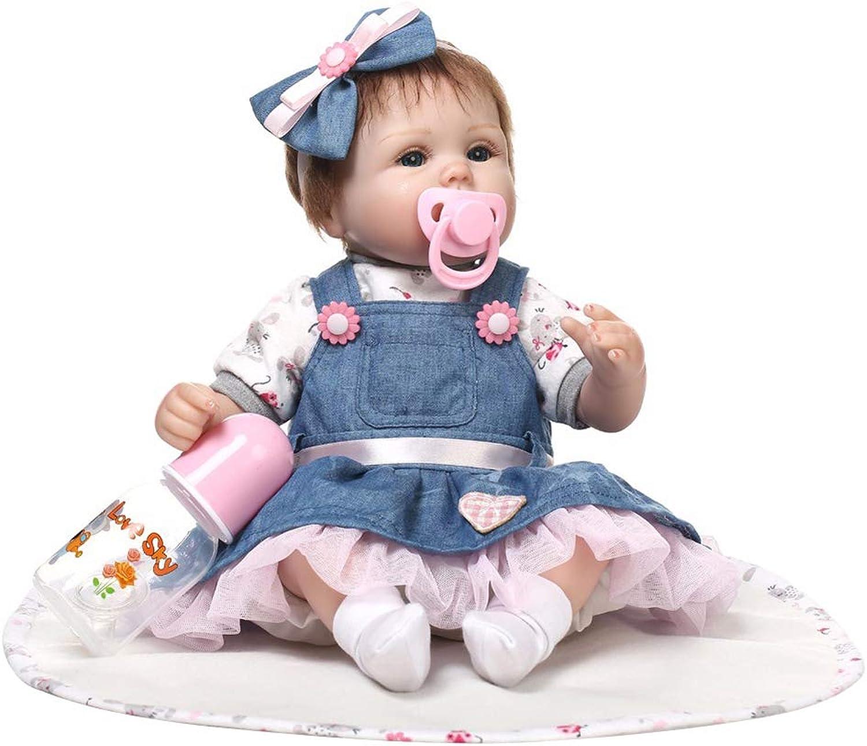 CFPacrobaticS 16inch Vinyl Silikon Denim Rock Reborn Babypuppe Kinder Begleiten Spielzeug Geschenk