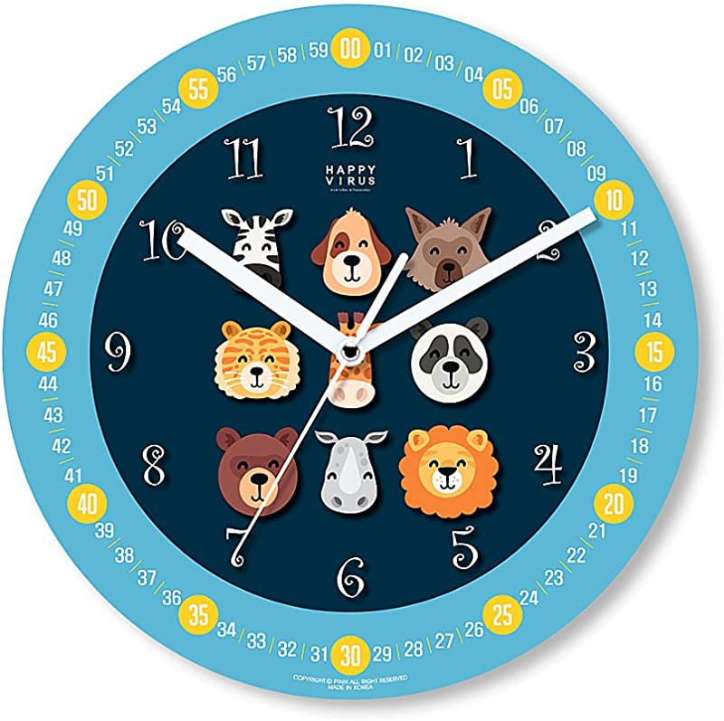 HappyVirus 11 22 Educational Wall Clock Children S Time Telling Teacher Silent Non Ticking Home Decoration 9 Animals 2112