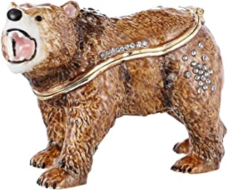 THE THREE FISH Brown Bear Crystal Studded Pewter Jewelry Trinket Box,Diamond Brown Bear Hinged Trinket Box Hand-Painted Animal Figurine Collectible.