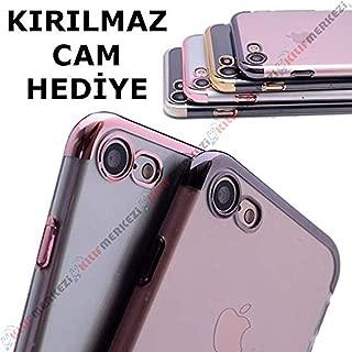 iPhone 7 Kılıf First Class Şeffaf Köşeleri Renkli Kapak + Kırılmaz Cam