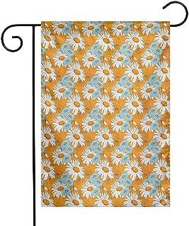 Zzmdear Flags, Farmhouse Decor, Blooming Spring Daisies on Orange Backdrop Romantic Feminine Petals, Orange Pale Blue and White, 12
