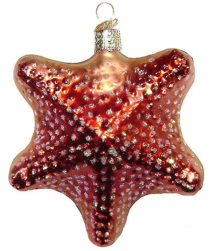 Old World Christmas Glittery Red Starfish Glass Ornament #12040