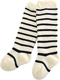 Vobony, 2 Pares Calcetines Largos para Bebé Niños Niñas Rayas Lindas Medias de Algodón Calcetines Hasta la Rodilla Infantil