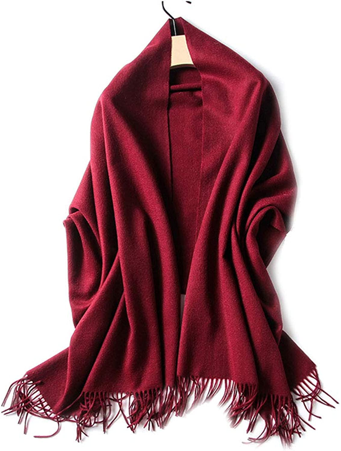 LBY Solid color Scarf Thick Warm and Comfortable Autumn and Winter Models Ladies Long Paragraph Wild Large Shawl Dualuse Scarf (color   RED)