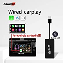 USB Wired Version carplay dongle Adapter Android auto carplay Receiver Box for Android Head Unit Multimedia Stereo Support mirroring Navigation (Black with mic)