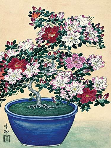 Ohara Koson WDC12155 kunstdruk op canvas, 30 x 40 cm (bloempot azaleblauw), meerkleurig, 30 x 40 x 3,8 cm