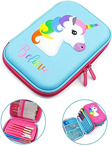 Decor Express Multipurpose Stylish Unicorn Print Large Capacity Pencil Case, Pen & Pencil Pouch Bag Case for School S...