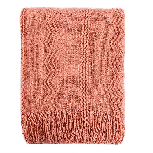 Battilo Intricate Woven Throw Blanket with Raised Patterns and Tasseled End, 50' L x 60' W, Salmon color