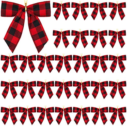 Aneco 20 Pieces Small Christmas Bows Red and Black Buffalo Plaid Bows Xmas Hanging Ribbon Bows for Christmas Tree Home Decor, 5 x 4 Inches