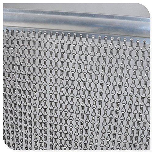 VerRich Rideau avec chaînes en Aluminium argenté 90 x 200 cm Protection Contre Les Mouches et Les Insectes