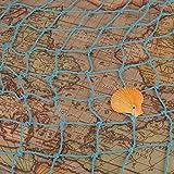 AONER 150 * 200cm Fischernetz Dekoration mit Muscheln Dekonetz zum Aufhängen Fischnetz Deko Maritime Deko Netze Hintergrund Schlafzimmer Wohnzimmer Kinderzimmer Wand Deko (Hellblau) - 4