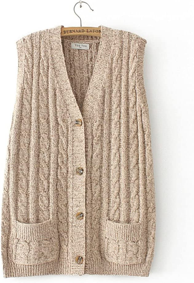 Sweater Vest Women,Ladies Sleeveless Knitted Gilets Retro Casual Cable Knit with Pockets Plus Size Button Sleeveless Sweater Cardigan V Neck Tank Top Vest Preppy Style Knitting Sweater Waistcoat Autu
