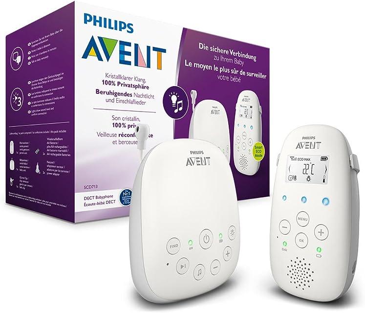 Philips AVENT SCD713/26 video-monitor para bebés 330 m Gris Blanco - Vigilabebé (330 m 50 m 330 m Gris Blanco LCD Corriente alterna Batería)
