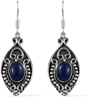 925 Sterling Silver Blue Lapis Lazuli Dangle Drop Oxidized Tribal Fish Hook Earrings Bohemian Boho Jewelry for Women Mothers Day Gifts