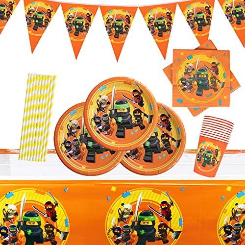 Gxhong Vajilla para fiesta de cumpleaños, Decoración de mesa de cumpleaños para niños, Conjunto de Ninjago Fiestas de Tema, Pancarta Platos Tazas Servilletas Mantel Paja,52piezas