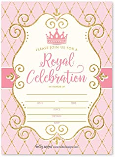 25 Vintage Princess Party Invitation, Faux Glitter Royal Queen Little Girl Birthday Invite, Kids Crown Mirror Pink and Gold Themed Bday Supply Idea, Enchanted Tiara Printed or Fill in The Blank Card