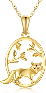 14k Solid Gold Squirrel Elk Cat Fox Necklaces for Women Necklaces Gold Jewelry Present for Wife Girlfriend Mother