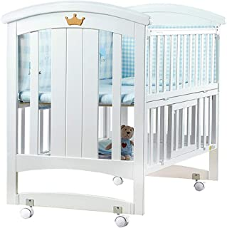 Maybesky Cot Bed European Crib Baby Cradle Bed With Roller Solid Wood Multifunctional Toddler Play Bed Safety Wooden Barrier  Color White  Size 118 100cm