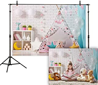 Allenjoy 7X5ft Children Room Photography Backdrop Pink Girl Play Tent Toy Bear Balloon Flag Decorations Background Photo Studio Booth Props Birthday Baby Shower Pajama Party Cake Table Banner