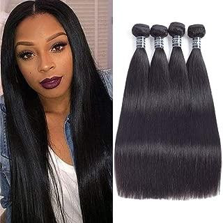 Amella Hair Brazilian Straight Hair 4 Bundles 10A Unprocessed Virgin Brazilian Hair Straight Human Hair Weave Weft Natural Black (12 14 16 18inch)
