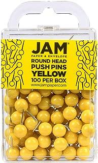 JAM PAPER Colorful Push Pins - Round Head Map Thumb Tacks - Yellow Pushpins - 100/Pack
