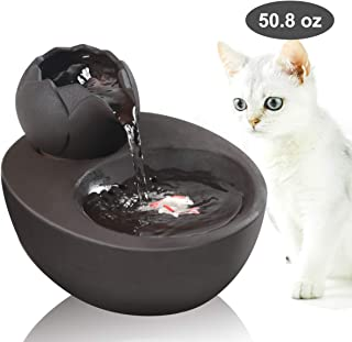 DINGQU Lotus Cat Water Fountain, Automatic Ceramic Drinking Fountain for Pets,Easy to Clean, 50.8 oz. Water Capacity