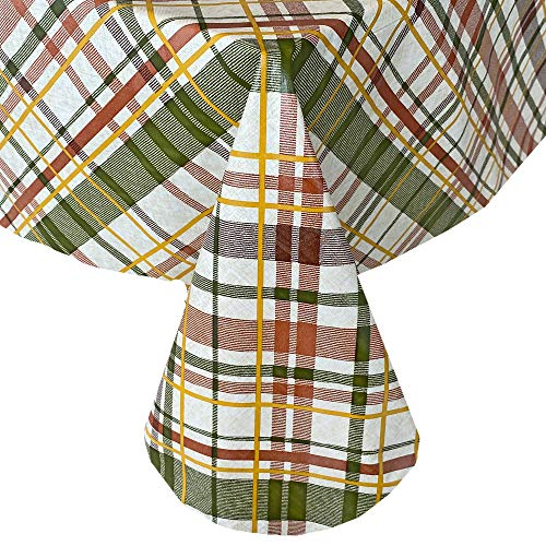 """Newbridge Harvest Diagonal Plaid Contemporary Autumn and Thanksgiving Vinyl Flannel Backed Tablecloth - Green, Rust and Brown Plaid Wipe Clean Easy Care Fall Tablecloth, 70"""" Round"""