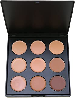 Makeup Concealer Palette,Vodisa 9 Color Camouflage Cream Contour Kit Face Blemishes Contouring Face Blemish Highlighting Make Up Bronze Conceal Beauty Cosmetics Cheek Foundation Contour Pallet Set (1)