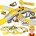 iHaHa Construction Race Track Toys, 236 PCS Construction Toy Engineering Trucks and 200 Flexible Tracks Playset for 3 4 5 6 7 Year Boy and Girls Gift