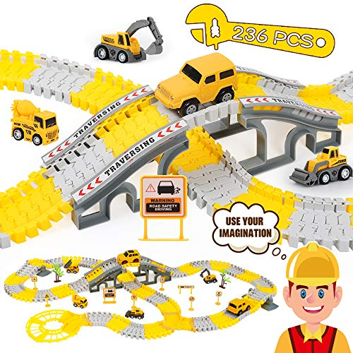 iHaHa 236PCS Engineering Tracks Car for Kids Toys, 6PCS Cool Engineering Car and Flexible Track Playset Create A Engineering World Road Race for 3 4 5 6 7 Year & Up Old boy Girls Best Gift