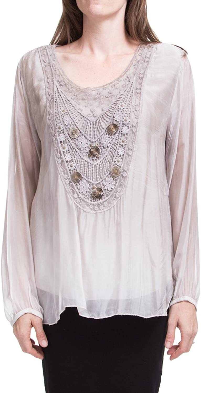 Made In  Embroidered and Beaded Ombre Blouse with Long Sleeves