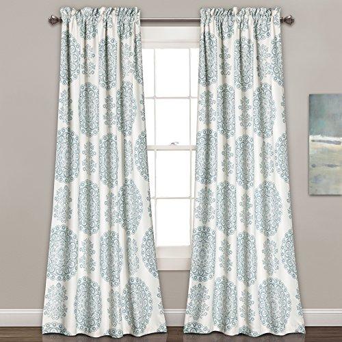 "Lush Decor Seafoam Medallion Room-Darkening Window Curtain Set (84"" x 52""), Blue"
