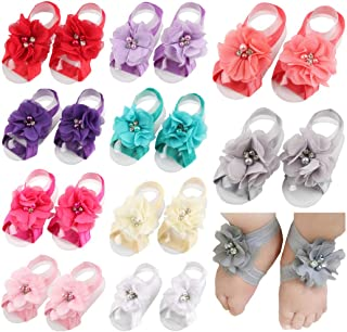 Baby Girl's Barefoot Sandals Solid Flower for Toddlers