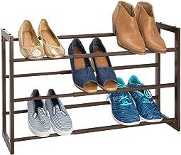 mDesign Zapatero vertical telescópico – Estante metálico extensible hasta 78,7 cm con 3 niveles de almacenaje – Mueble de zapatos para ahorrar espacio – marrón