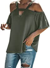 HIRIRI Womens Spaghetti Strap Cold Off Shoulder Tops T Shirt V Neck Halter Blouse Short Sleeve Summer Top
