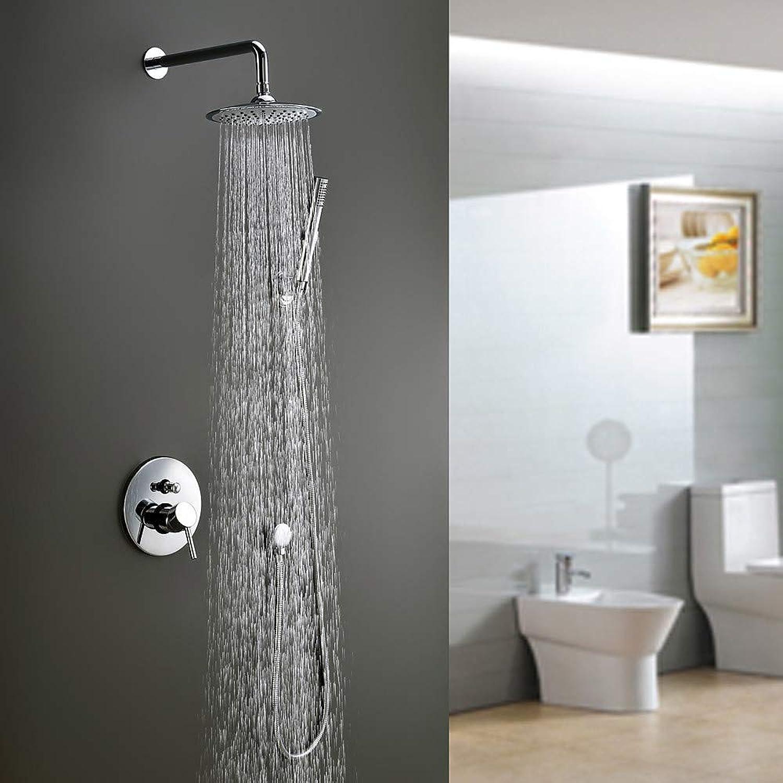 Fire wolf Dusche mischer Duscharmatur - Modernes Chrom-Duschsystem Keramikventil aus Messing Einhebelmischer 4-Loch-Duschmischbatterien