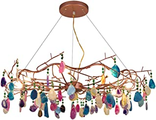 Colorful Agate Chandelier Tree Branch Brass Brushed Pendant Light 6 Lights Decoration Multi-arm Hanging Light Fixture with 100cm Adjustable Cord, G9
