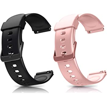 Letsfit ID205L Smart Watch Bands, Adjustable Smartwatch Replacement Straps for ID205L Sport Watch, Replacement Accessory Bandst with 2 Pack, Black+Pink