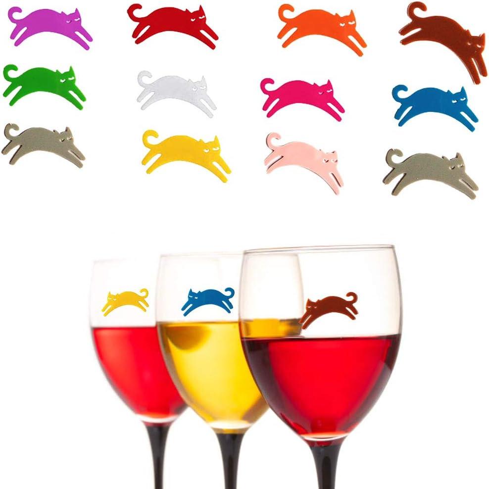 CYJZHEU 12 Piezas Marcadores de Copas de Vino, Marcadores de Vidrio de Silicona Marcadores y Adornos para los Vasos Haga Que su Bebida Sea única para Cócteles Cenas Familiares (Varios Colores)