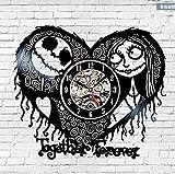 ERTOQ Reloj de Pared de Vinilo Pareja Amorosa Record Clock Vintage Registro de Vinilo Regalo Hecho a Mano hogar Decoración 7 Colores luz Nocturna 30x30cm- con LED