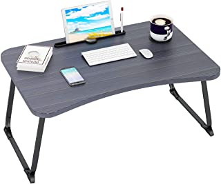 Ruitta Flodable Laptop Bed Table Tray, Laptop Bed Desk with Cup Holder & Tablet Phone Holder & Pen Slot, Lap Desk Stand, B...