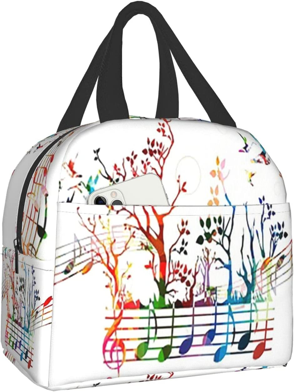 AuHomea Lunch Bag Creative Music Notes Printed Tote Reusable Insulated Waterproof School Picnic Carrying Gourmet Lunchbox Container Organizer For Men, Women, Adults, Kids, Girls, Boys