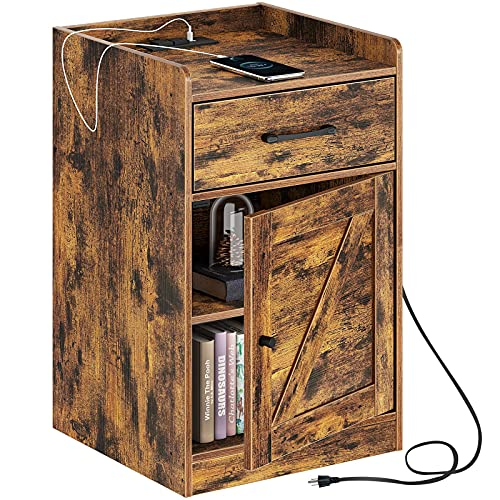 Rolanstar Nightstand with Charging Station, Farmhouse End Side Table with Storage Drawer and Cabinet for Bedroom, Rustic Brown