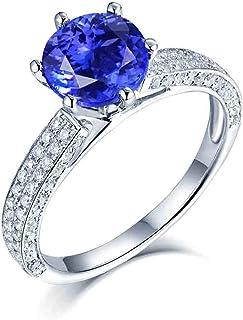 ButiRest - Anello in oro bianco 750, 18 carati, con sei artigli taglio rotondo 3 ct blu tanzanite IF e diamante 0,6 ct