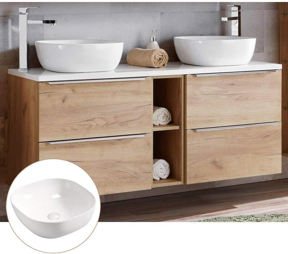 Lomadox Badmöbel Doppel Waschtisch Set, Unterschrank Wotaneiche Hochglanz  weiß, 20 Keramik Waschbecken, 20 Softclose Schubkästen, Regal, B/H/T ...