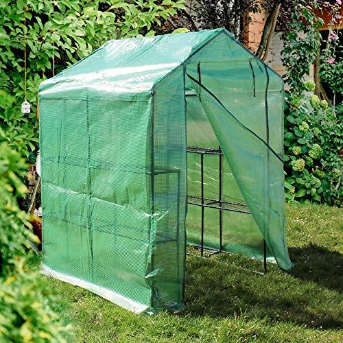 WilTec Invernadero de plástico 143x143x195cm Transitable con 8 baldas Caseta Cultivo Plantas Vivero Red PE