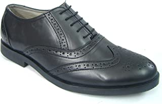ASM Pure Leather Formal Black Brogue Shoes with Leather Upper, Leather Insole, Fully Leather Lining, TPR Sole and Memory Foam Cushioning for Boys/Mens