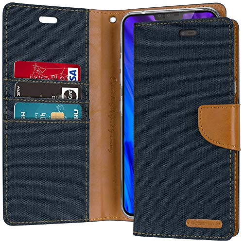Goospery Canvas Wallet for LG V40 ThinQ Case (2018) Denim Stand Flip Cover (Navy) LGV40-CAN-NVY