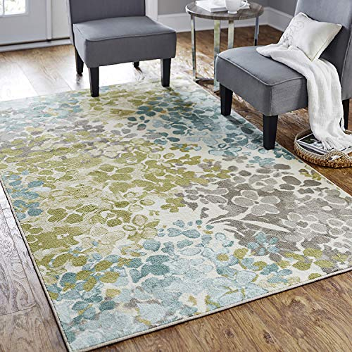 Mohawk Home Aqua Blue Aurora Radiance Abstract Floral Area Rug (5