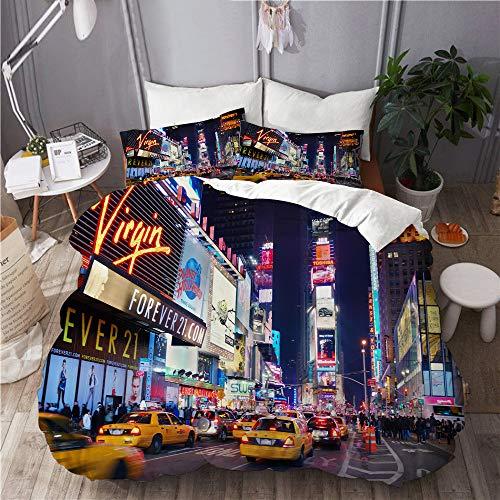 KIMDFACE Funda Edredón,Ciudad DE Nueva York Times Square Broadway Ciudad de Nueva York Estados Unidos Teatros y Carteles LED Animados,Ropa de Cama Funda Nórdica,1(220x240cm)+2(50x80cm)